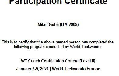 Wir gratulieren unserem Trainer zur bestandenen World Taekwondo Level 2 Trainer-Prüfung!